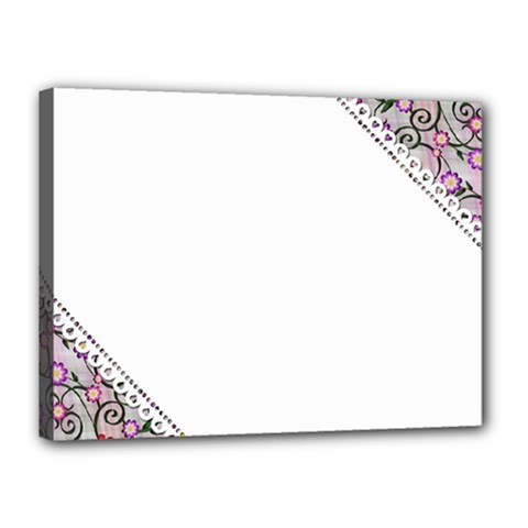 Floral Ornament Baby Girl Design Canvas 16  X 12