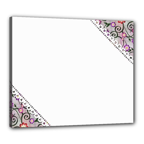 Floral Ornament Baby Girl Design Canvas 24  X 20