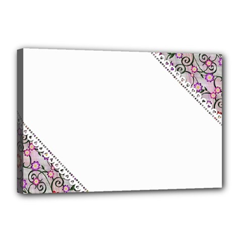 Floral Ornament Baby Girl Design Canvas 18  X 12