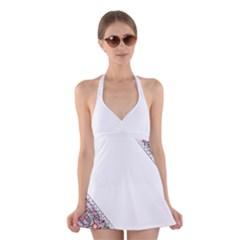 Floral Ornament Baby Girl Design Halter Swimsuit Dress