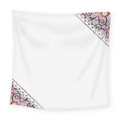 Floral Ornament Baby Girl Design Square Tapestry (large)