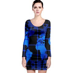 Network Networking Europe Asia Long Sleeve Bodycon Dress