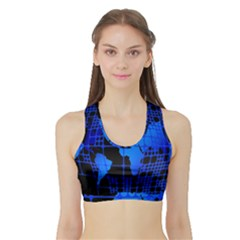 Network Networking Europe Asia Sports Bra with Border