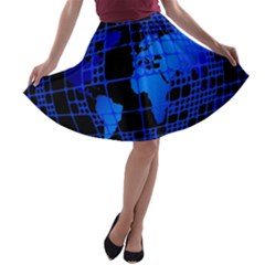 Network Networking Europe Asia A-line Skater Skirt