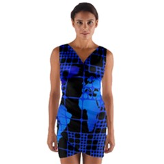 Network Networking Europe Asia Wrap Front Bodycon Dress