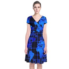 Network Networking Europe Asia Short Sleeve Front Wrap Dress
