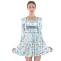 Icon Media Social Network Long Sleeve Skater Dress