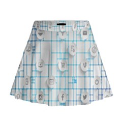 Icon Media Social Network Mini Flare Skirt