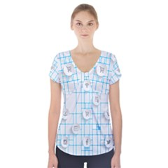 Icon Media Social Network Short Sleeve Front Detail Top