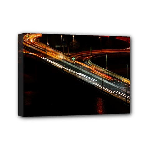 Highway Night Lighthouse Car Fast Mini Canvas 7  X 5