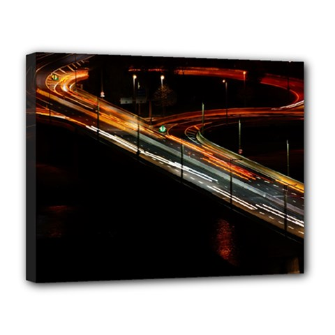 Highway Night Lighthouse Car Fast Canvas 14  X 11