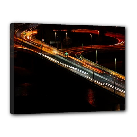 Highway Night Lighthouse Car Fast Canvas 16  X 12