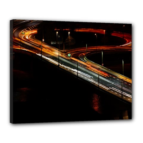Highway Night Lighthouse Car Fast Canvas 20  x 16
