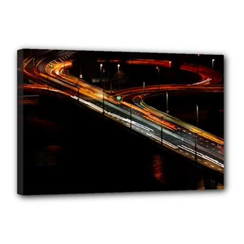 Highway Night Lighthouse Car Fast Canvas 18  x 12
