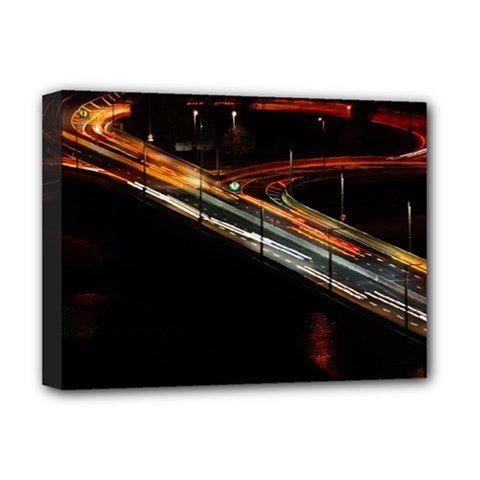 Highway Night Lighthouse Car Fast Deluxe Canvas 16  X 12