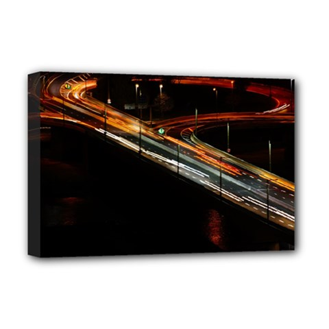 Highway Night Lighthouse Car Fast Deluxe Canvas 18  X 12