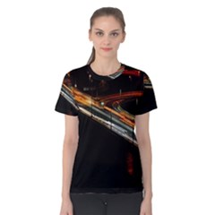 Highway Night Lighthouse Car Fast Women s Cotton Tee