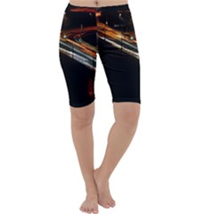 Highway Night Lighthouse Car Fast Cropped Leggings