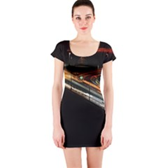 Highway Night Lighthouse Car Fast Short Sleeve Bodycon Dress