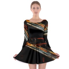 Highway Night Lighthouse Car Fast Long Sleeve Skater Dress