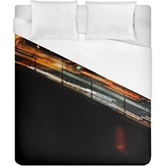 Highway Night Lighthouse Car Fast Duvet Cover (california King Size)