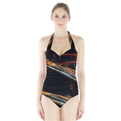 Highway Night Lighthouse Car Fast Halter Swimsuit