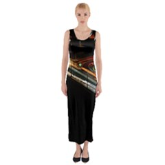 Highway Night Lighthouse Car Fast Fitted Maxi Dress