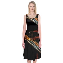 Highway Night Lighthouse Car Fast Midi Sleeveless Dress