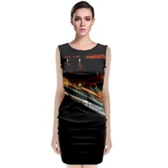 Highway Night Lighthouse Car Fast Classic Sleeveless Midi Dress