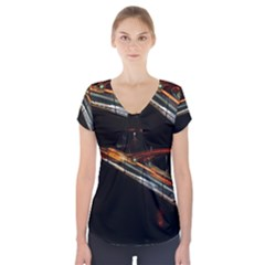Highway Night Lighthouse Car Fast Short Sleeve Front Detail Top