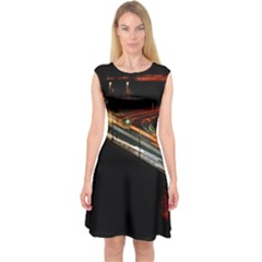 Highway Night Lighthouse Car Fast Capsleeve Midi Dress