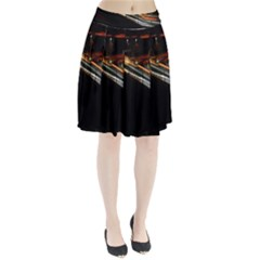 Highway Night Lighthouse Car Fast Pleated Skirt