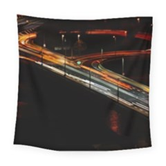 Highway Night Lighthouse Car Fast Square Tapestry (large)