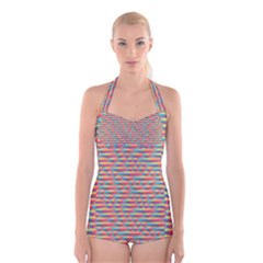 Background Abstract Colorful Boyleg Halter Swimsuit