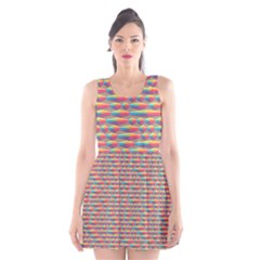 Background Abstract Colorful Scoop Neck Skater Dress