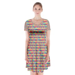 Background Abstract Colorful Short Sleeve V Neck Flare Dress