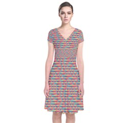 Background Abstract Colorful Short Sleeve Front Wrap Dress