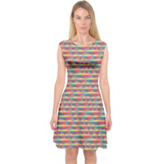Background Abstract Colorful Capsleeve Midi Dress