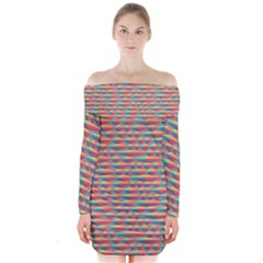 Background Abstract Colorful Long Sleeve Off Shoulder Dress