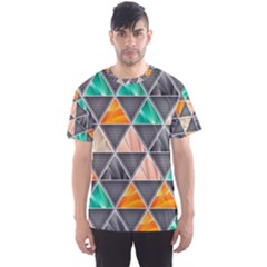 Abstract Geometric Triangle Shape Men s Sport Mesh Tee