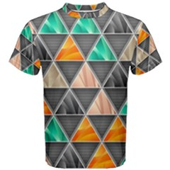Abstract Geometric Triangle Shape Men s Cotton Tee