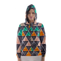Abstract Geometric Triangle Shape Hooded Wind Breaker (women)