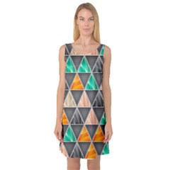 Abstract Geometric Triangle Shape Sleeveless Satin Nightdress