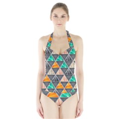 Abstract Geometric Triangle Shape Halter Swimsuit
