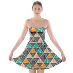 Abstract Geometric Triangle Shape Strapless Bra Top Dress