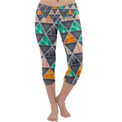 Abstract Geometric Triangle Shape Capri Yoga Leggings
