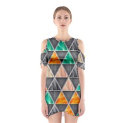 Abstract Geometric Triangle Shape Shoulder Cutout One Piece