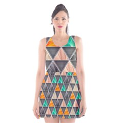Abstract Geometric Triangle Shape Scoop Neck Skater Dress