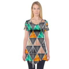 Abstract Geometric Triangle Shape Short Sleeve Tunic