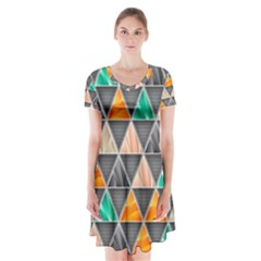 Abstract Geometric Triangle Shape Short Sleeve V Neck Flare Dress